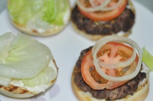 home made beef burger - lettuce