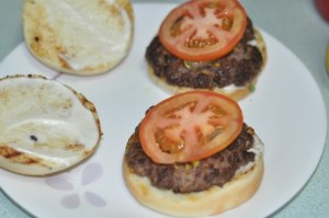 home made beef burger - tomato