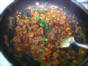 kadai prawns - add finely chopped corriander