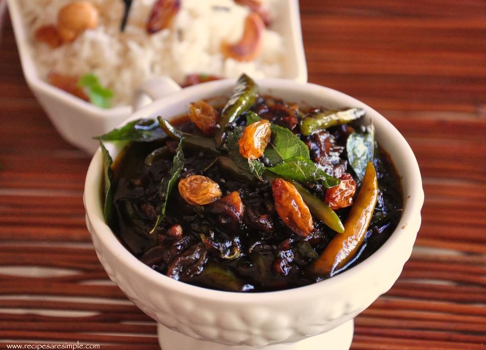Green Chili Pulinkari – Tamarind Chili and Raisin Chutney