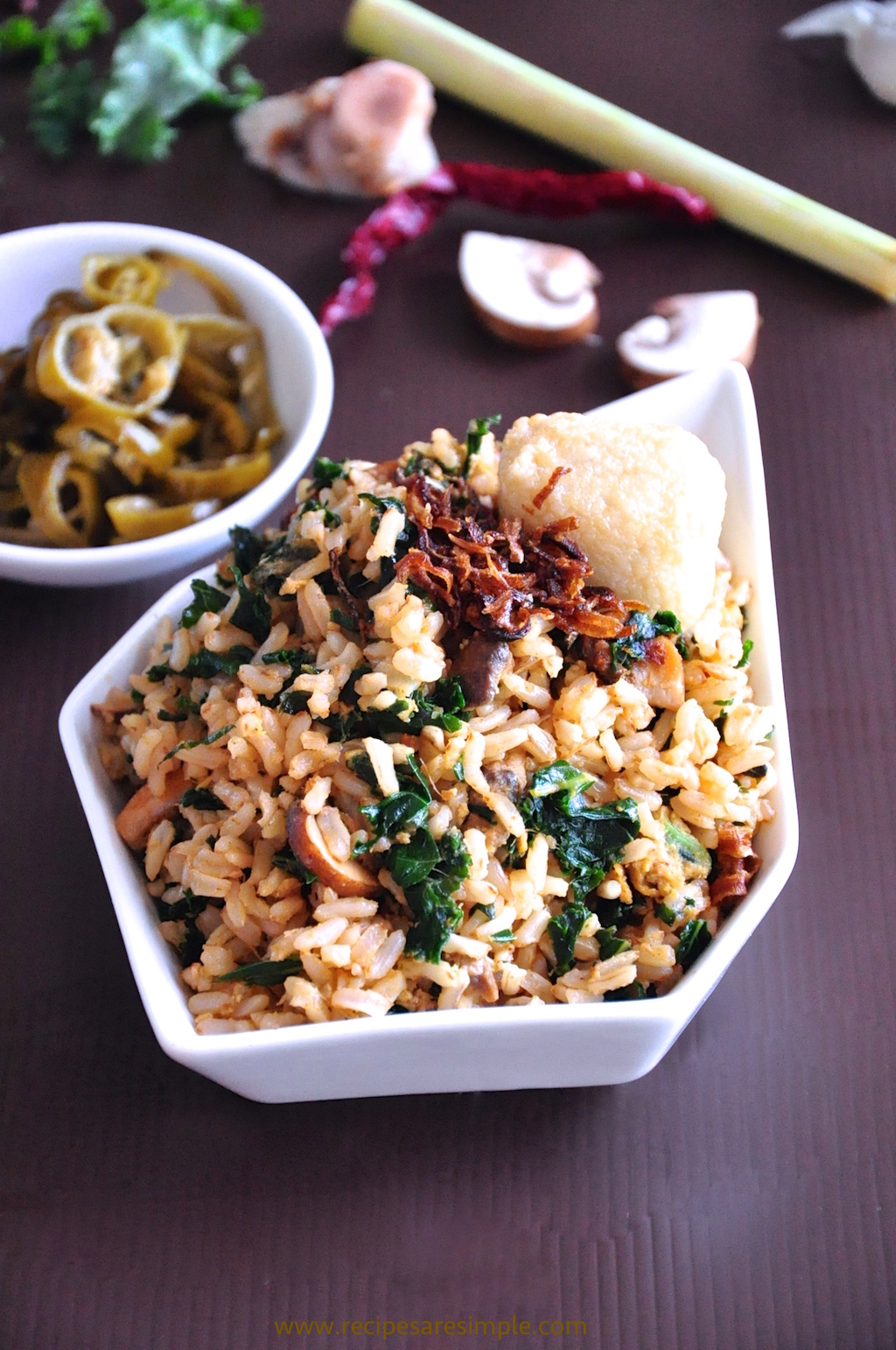 kale fried rice brown rice recipe