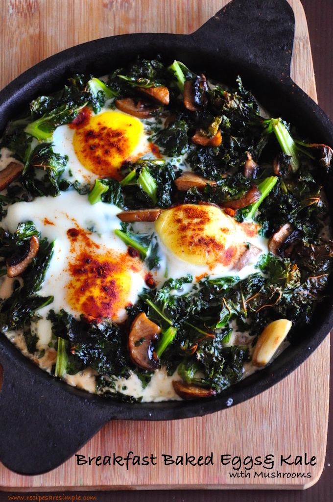 breakfast baked eggs and kale