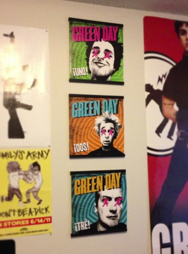 Green Day vinyl records on display