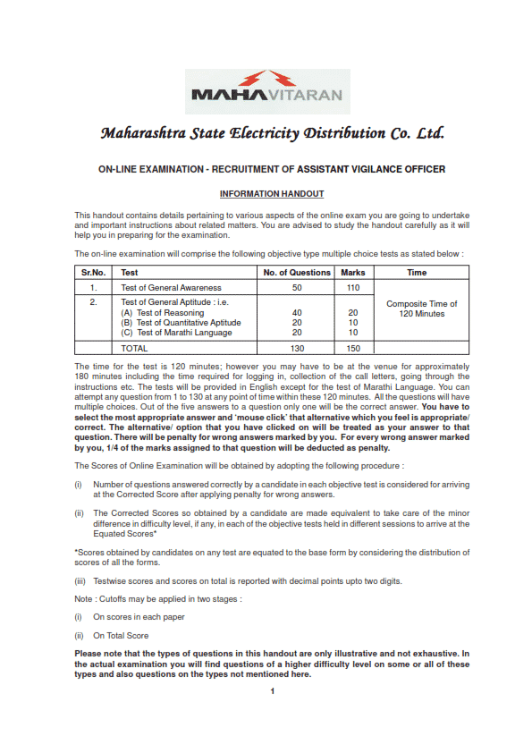 Mahadiscom AVO Cut off Marks 2015   MSEDCL Answer Key