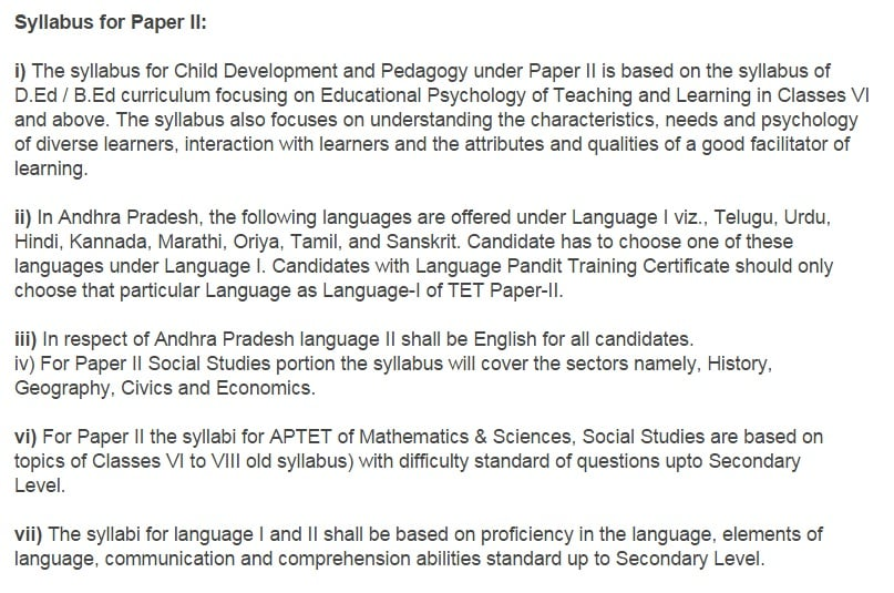 TS TET Syllabus 2016   Telangana TET Papers I & II Exam Pattern   TS TET Syllabus 2016   tstet.cgg.gov.in