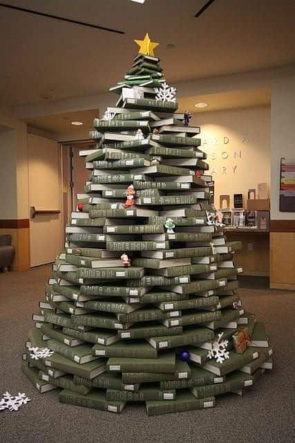 book christmas tree2 Book christmas tree in social paper diy  with Tree Christmas Book