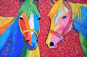 Candy Painted Horses – #mosaic made with #recycled candy and drink labels