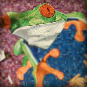 Tree frog Mosaic made with recycled candy and drink labels