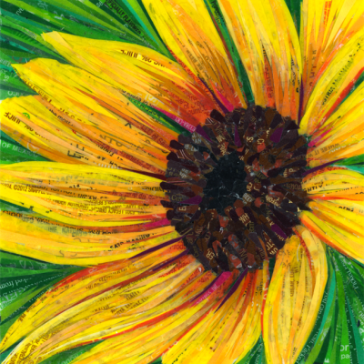 Suntaker #4 – Mosaic of a sunflower made with recycled candy and drink labels