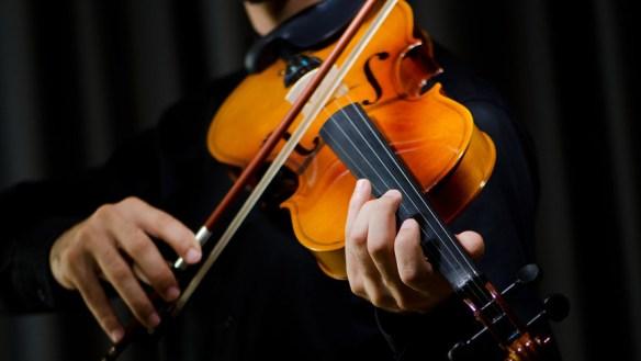 Скрипка в руках музыканта на черном фоне