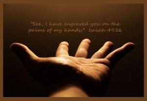 engraved in his palm