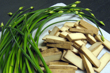 Chives Blossoms and Pressed Tofu