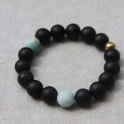 matte black beaded bracelet