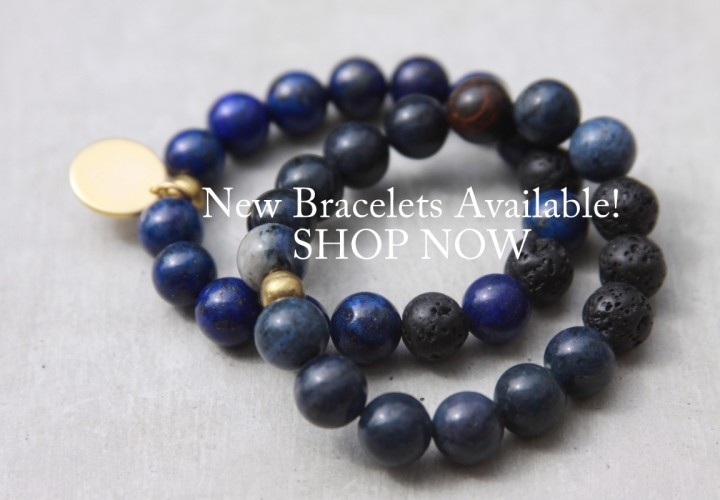 handmade blue beaded bracelet set