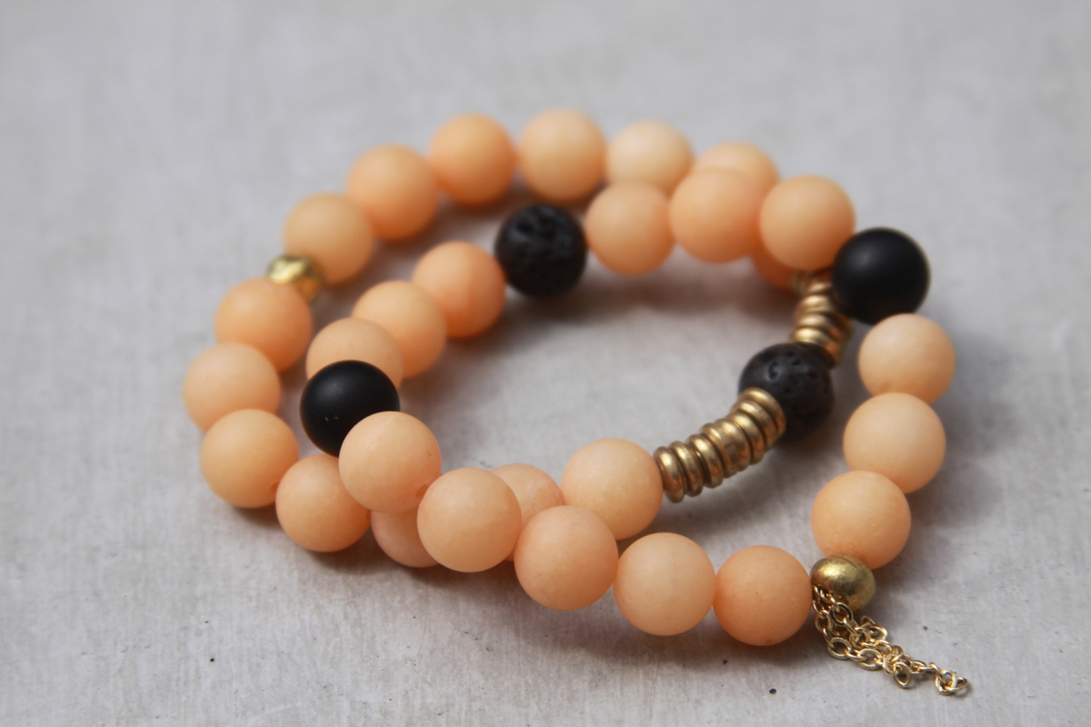 Tangerine Beaded Bracelet Set