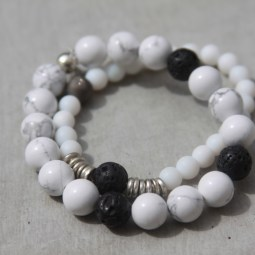 white beaded gemstone bracelets
