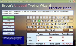 brucestypingtutor small Bruces Unusual Typing Wizard   freeware typing tutor welcomes your fingers