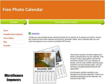 freephotocalendar small1 Free Photo Calendar   upload image and create a personalised date watcher