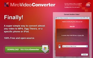 mirovideoconverter small Miro Video Converter   freeware lets you convert your video for handhelds