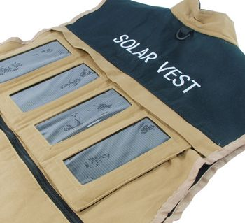 solarvest Solar Vest   Charge your gadgets by lazing in the sun