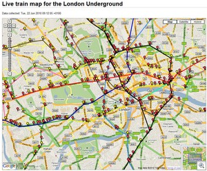 livemapoflondonunderground thumb Live Train Map of London Underground   watch them all move