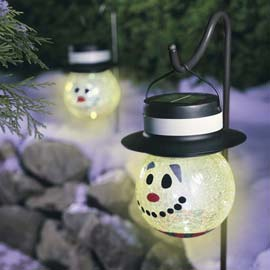solarpoweredchristmassnowmanglobe 1 Solar powered Snowmen and other colorful Christmas LEDs