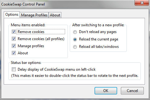 cookieswap CookieSwap   free Firefox extension makes it easy to manage multiple online email accounts