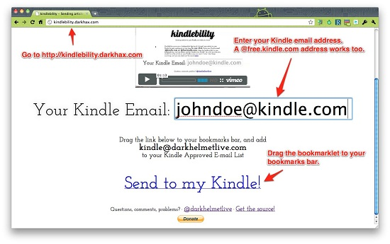 kindlebility step 1 Kindlebility lets you email entire webpages to your Kindle