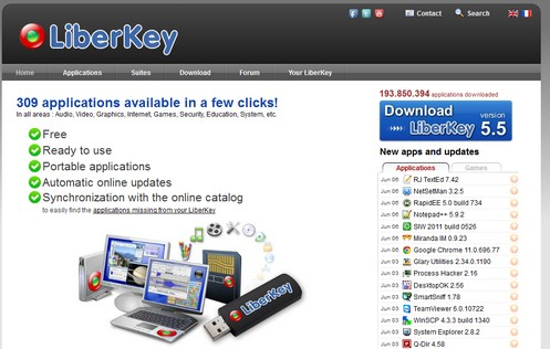 liberkey small LiberKey   309 freeware portable applications available in one free download