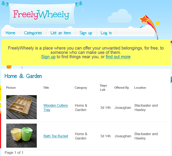 FreelyWheely is a place to find and give away free items