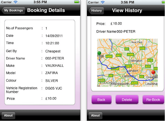 minicab Safer Minicabs lets you book a cab from your phone
