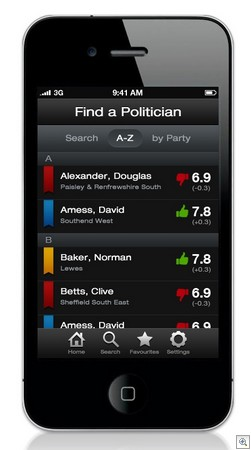 rateapolitician3 thumb Worlds first Rate A Politician app may be the democratic answer weve been waiting for