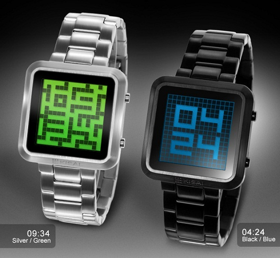 maze watch silver green and black blue pair Tokyoflash Kisai Maze makes your brain work for the time