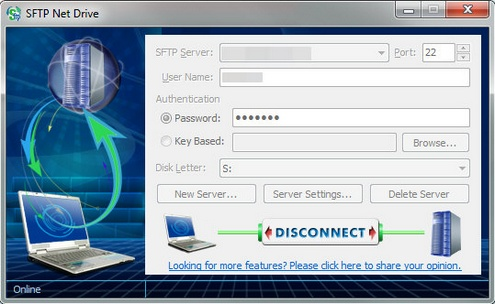 sftpnetdrive SFTP Net Drive turns your web hosting server into an awesome external hard drive for safe secure file storage [Freeware]