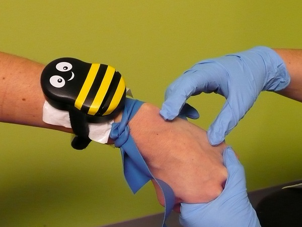 Buzzy Buzzy is a tourniquet for kids that will take away the sting from shots