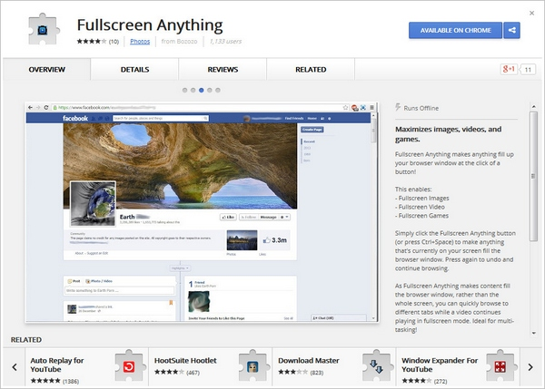 fullscreenanything3 1 Fullscreen Anything   maximize images, videos and games on any site using this free Chrome extension [Freeware]