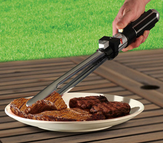 lightsaberbbqtongs Lightsaber BBQ Tongs   may the sauce be with you