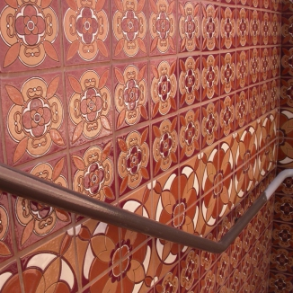 fireclaytilehandpaintedstaircase Add to your decor with colorful tiles made from recycled glass