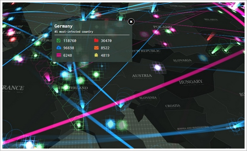 kasperskycyberthreatrealtimemap2 Kaspersky Cyberthreat Real Time Map   the map mashup that will scare you rigid