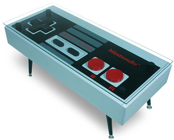 nintendocoffeetable5 Updated Nintendo Controller Coffee Table   turn every game into two player