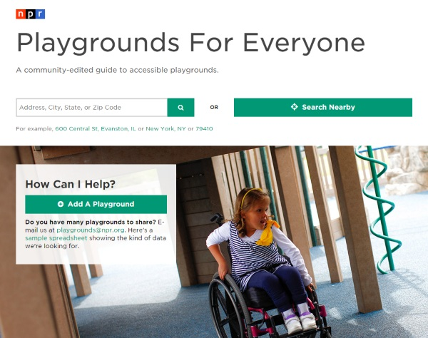 Playgrounds For Everyone – find accessible playgrounds everywhere