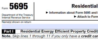 IRS form 5695 home energy tax credit