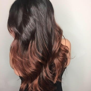 10 New Ombre Haircolor Ideas To Try Next   Redken Dark brown roots and rose gold haircolor ends
