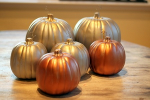 How to Gild Fake Pumpkins with Metallic Paint