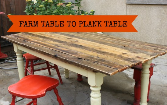 Plank Top table WITH BANNER