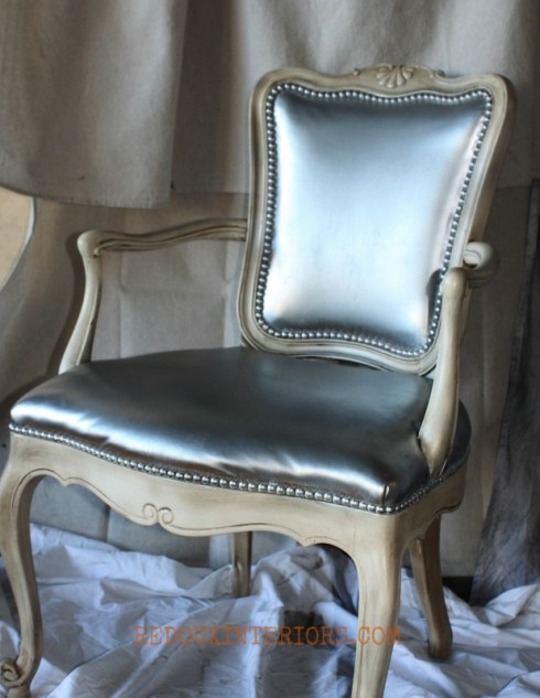 Silver Spray painted chair Redouxinteriors