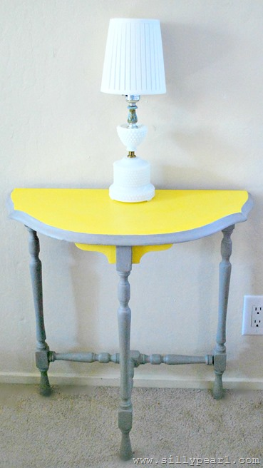 Gray and Yellow Chalk Painted Console Table - The Silly Pearl_thumb[1]