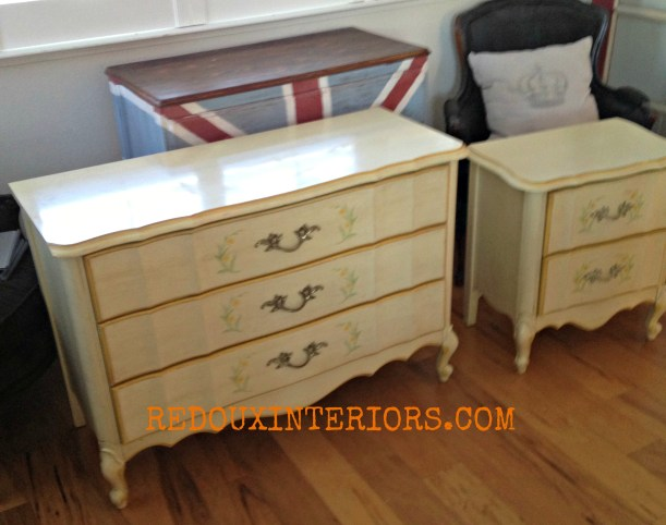 Gold French Dresser and Nightsand before redouxinteriors