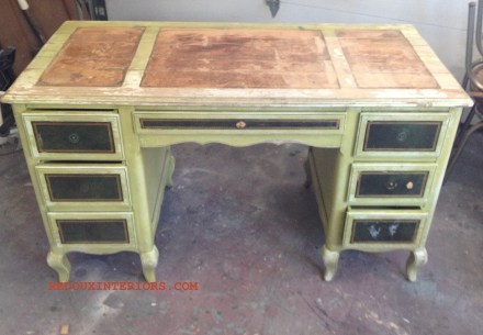 Green Dumpster Desk with water mark before