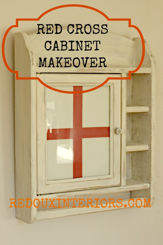 Red Cross Cabinet Makeover redouxinteriors